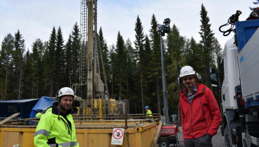 Jan-Erik Rosberg, till vänster är universitetslektor i teknisk geologi vid Lunds Tekniska Högskola. Henning Lorenz, geolog vid Uppsala universitet, är projektkoordinator.