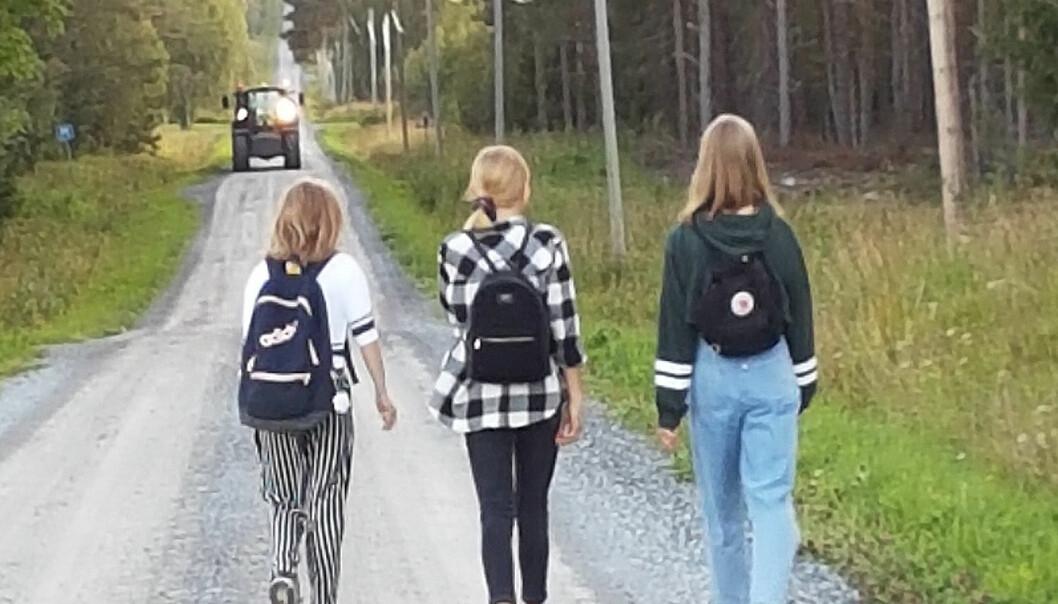 Längs den här smala grusvägen utan belysning ska nu barn från 10 år i Vällviken gå, tre kilometer enkel väg till skolbussen och tre kilometer hem varje dag.