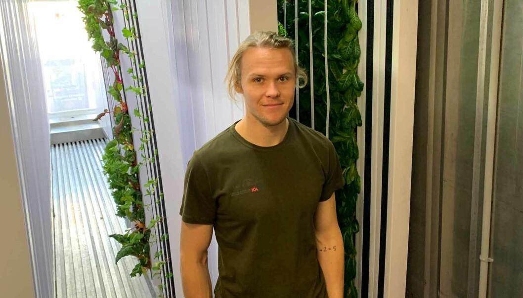 Martin Liljekvist, på ICA Åre, sköter om det nya odlingssystemet i container. Nu blir det färska grönsaker året om som kommer att säljas lokalt i Åre.