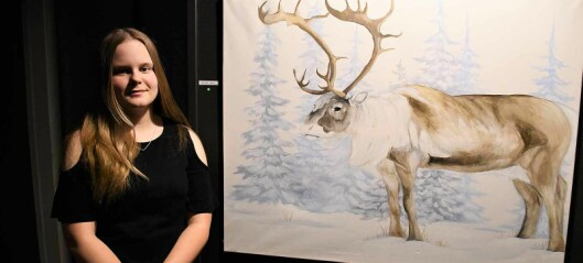 14-åriga Lina ställer ut sin konst i Strömsund