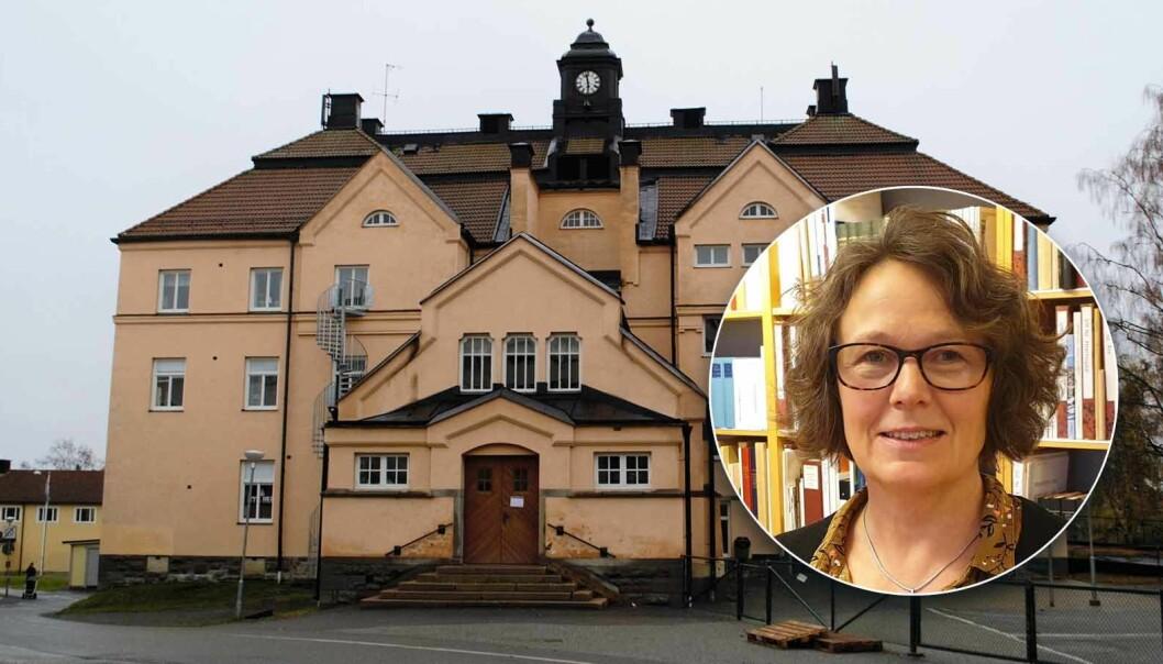 Bildmontage: T.v. I denna byggnad hade Frösö sjukhus sin församlingslokal, nu är det Arnljotskolan som håller till här.