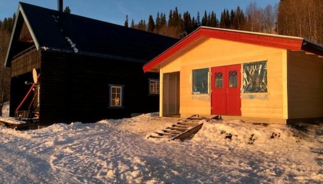 Entrén som ska välkomna gästerna till Hotell Stora Blåsjön.