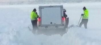 Arbetet med isvägen Vällviken-Sunne hindras av snöslask