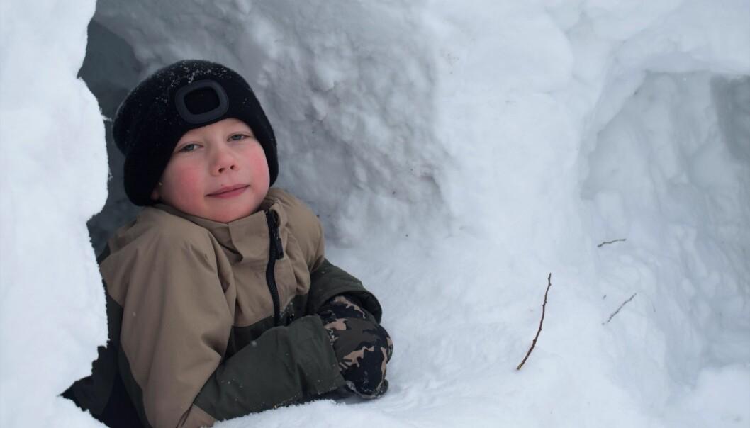 Vide är sju år och gillar verkligen sin snöborg.