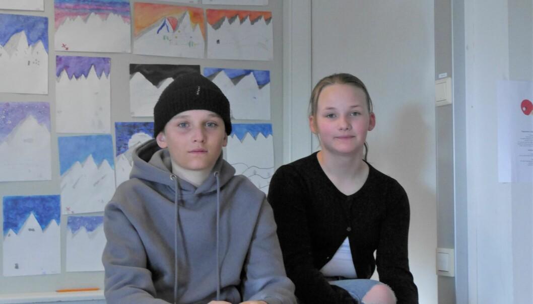 5a, våran parallellklass skulle vara roligast att slå, säger Moa Åfeld.   Hon och Arvid Hedman vann första tävlingen i länets Vi i femman