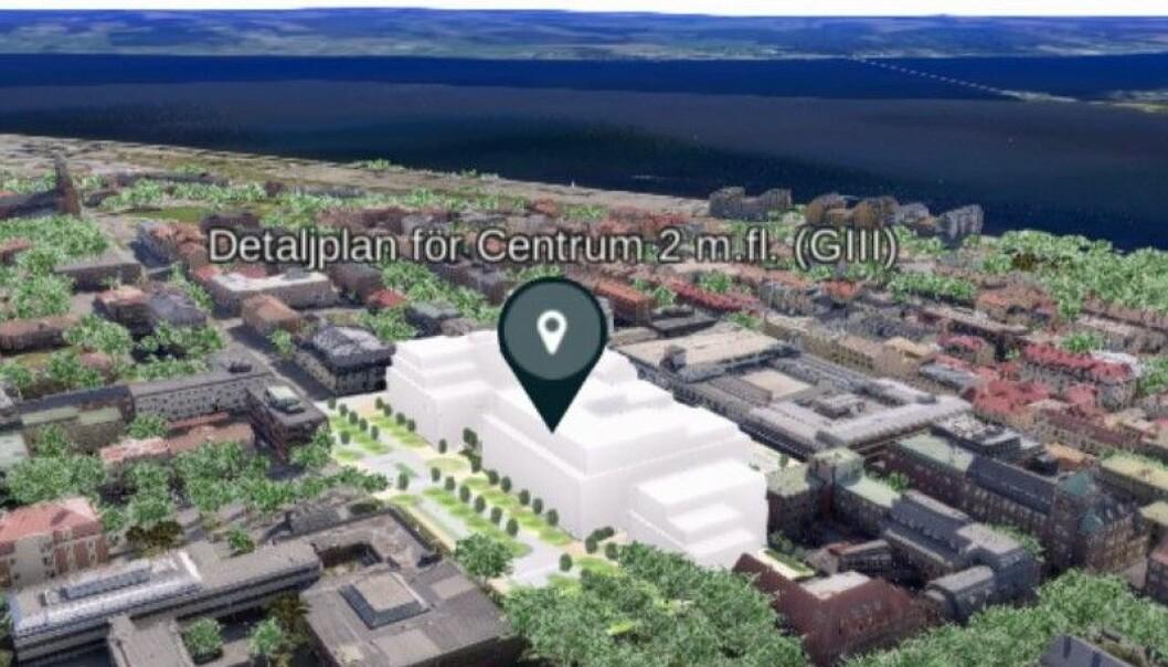 De planerade byggnaderna kommer att bli relativt höga. Illustration: Östersunds kommun