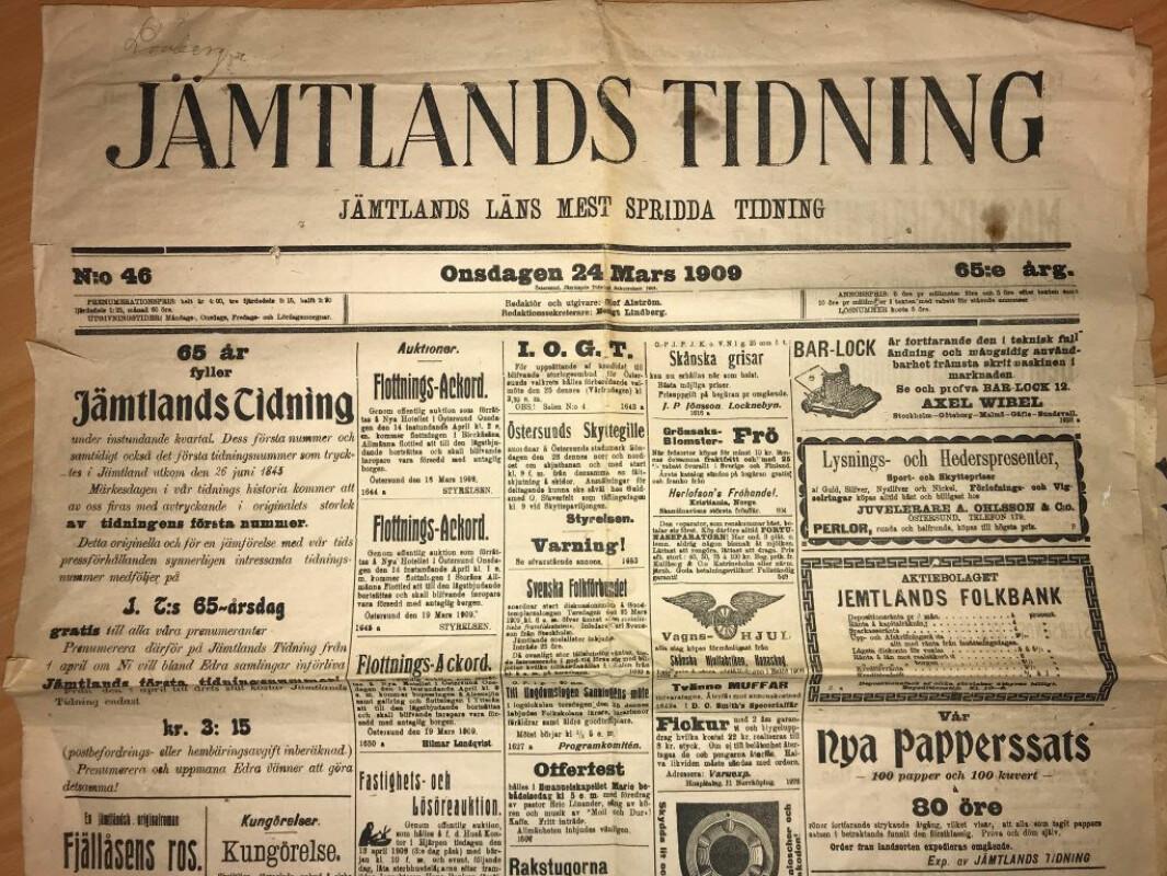 Historien om Jämtlands tidning
