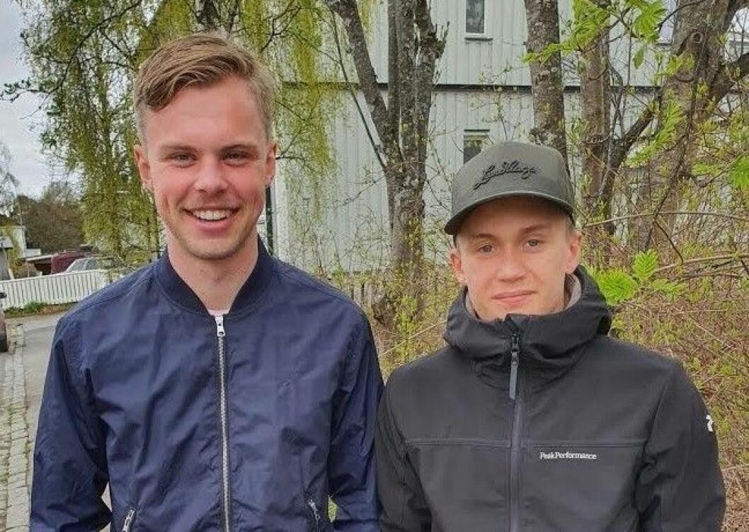 Efter att ha varit ute i totalt 35 timmar hade Aksel Halvarsson och Joel Wessman på mindre fyra dygn lyckats hittat alla 350 kontroller på Östersundskartan. Foto: Privat