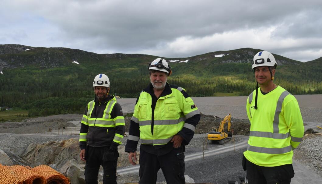 Lars Eriksson, mättekniker Skanska, Kjell Nilsson, projektledare på Statkraft och Andreas Pettersson, produktionschef Skanska.