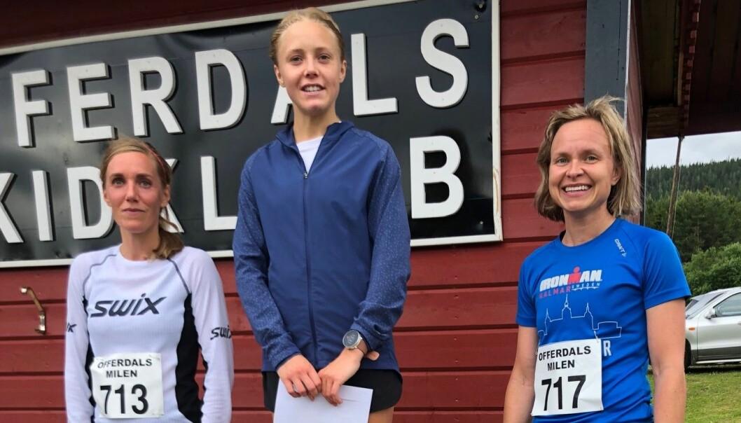 Märta Rosenberg, Duveds IF, tog en överlägsen seger i milloppet. Bakom henne var Karin Söderberg Offerdals SK och trea Åsa Nilsson, Östersunds Thriathlon.
