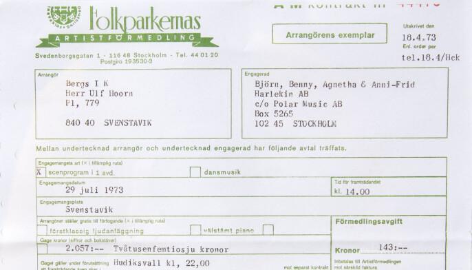 Kontraktet som signerades i april 1972 inför ABBA:s framträdande på Galhammaren i Svenstavik. Totalt betalade arrangören 2428 kronor för ABBA:s uppträdande under Svensta marknad.