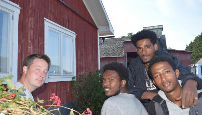 Claes med det eritreanska gänget för dagen: Degen, Fanuel och Desie.