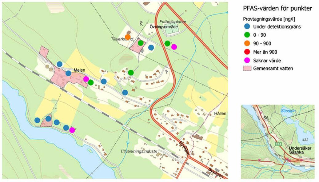 Här är området i Undersåker där det finns förhöjda värden av de giftiga fluorämnena PFAS. Bild: Åre kommun
