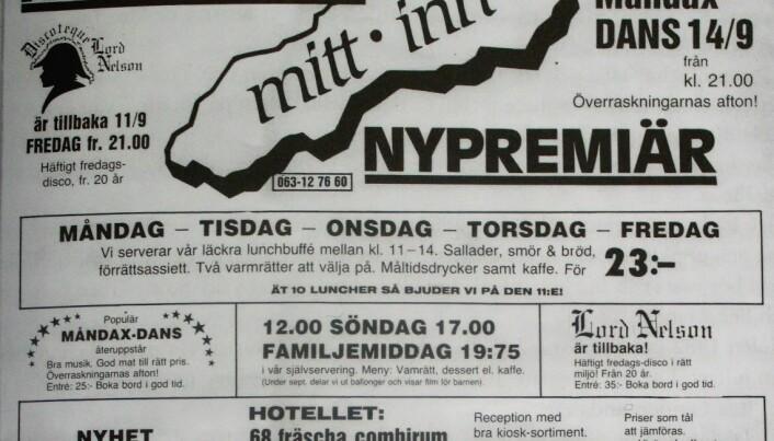 Annons från tiden med Mitt Inn på 80-talet. Bild ur boken.