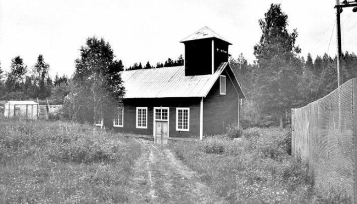 Historisk bild över vattenkraftverket som byggdes 1917. Foto Jämtkraft