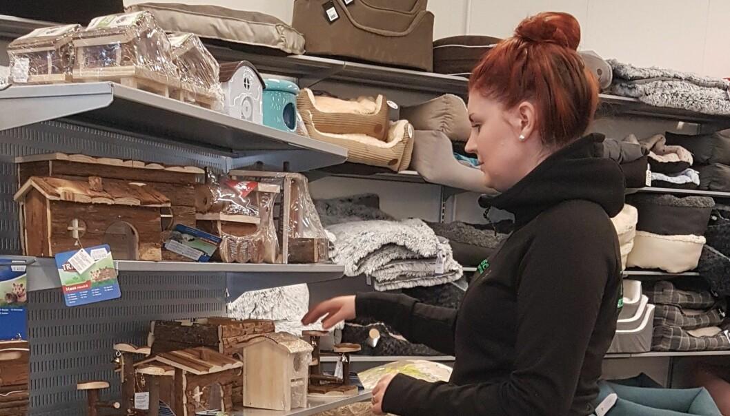 Marielle Forsberg som jobbar på Tasseborg ser till att det ser bra ut på hyllorna för smådjurstillbehör. Foto: Sonja Björklund