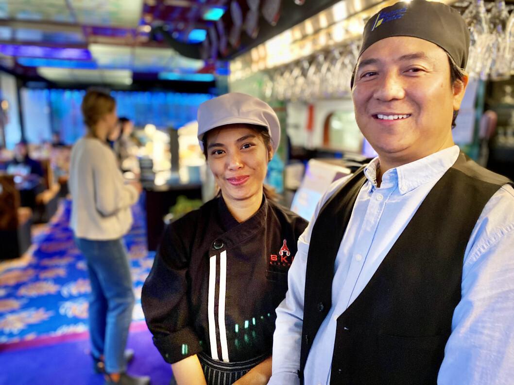 Glada miner inne på nya restaurangen Nam thai kitchen (gamla Eastern Palace). Ägaren Zack Nauldee och kocken Patcharin Klongsungnoen har redan första dagarna lockat många lunchgäster.