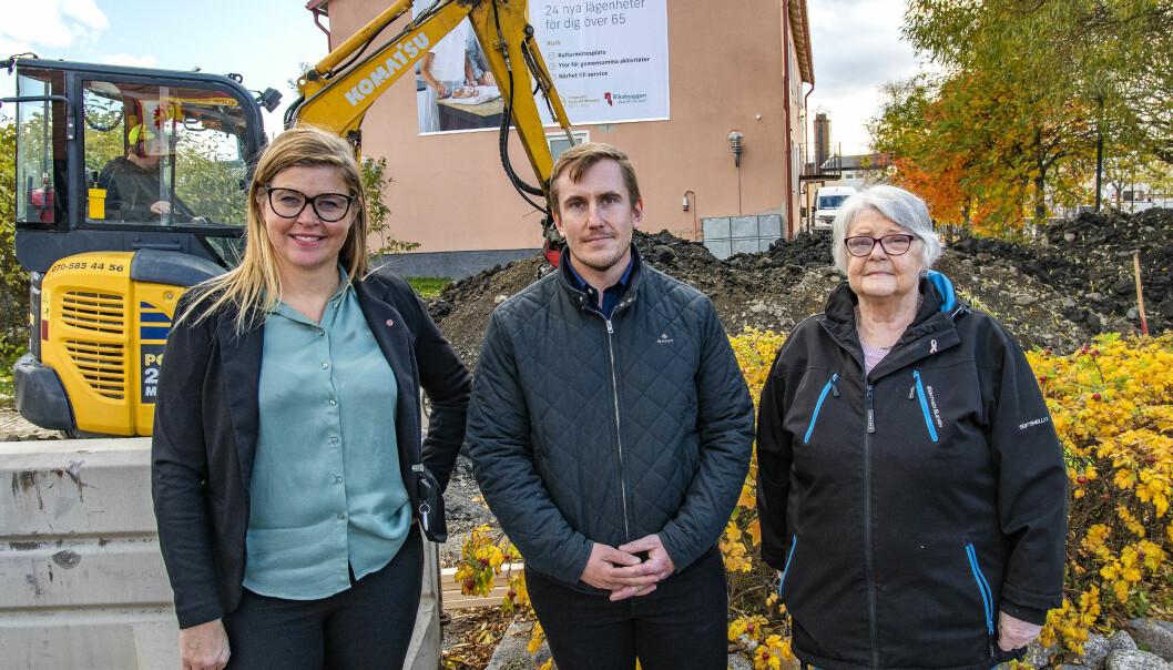 Therese Kärngard, (S) kommunalråd i Bergs kommun och ordförande i BoBra i Berg, Tim Eriksson, projektledare på Riksbyggen och Harriet Ödin som representerar PRO och SPF i styrelsen för BoBra i Berg.